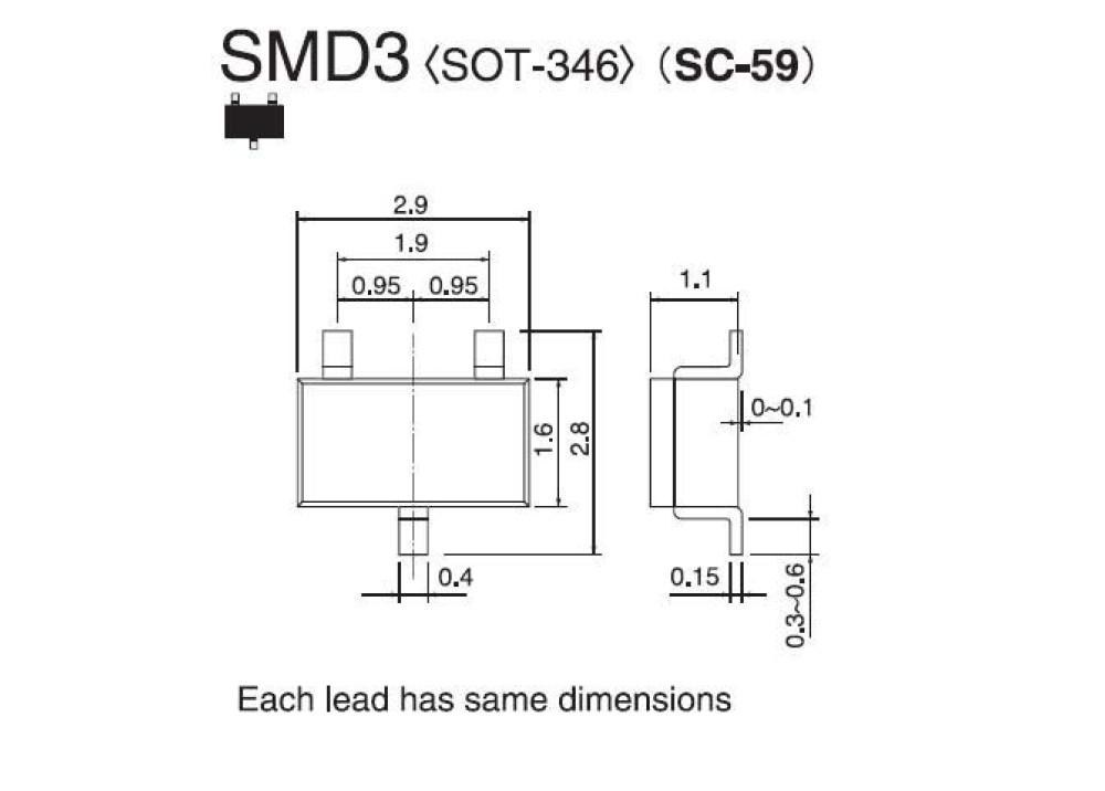 SMD ZENER Diode 5.6V 0.3W RD5.6M-T2B-A SOT-346