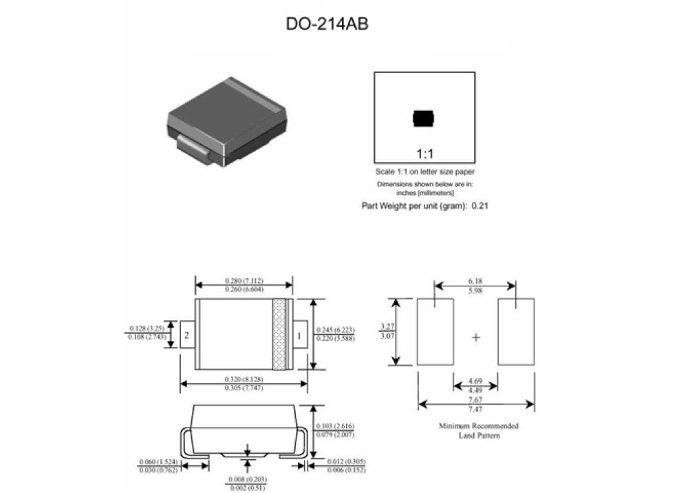SMD DIODE SMCJ170A 5.5A 170V TVS DO-214AB