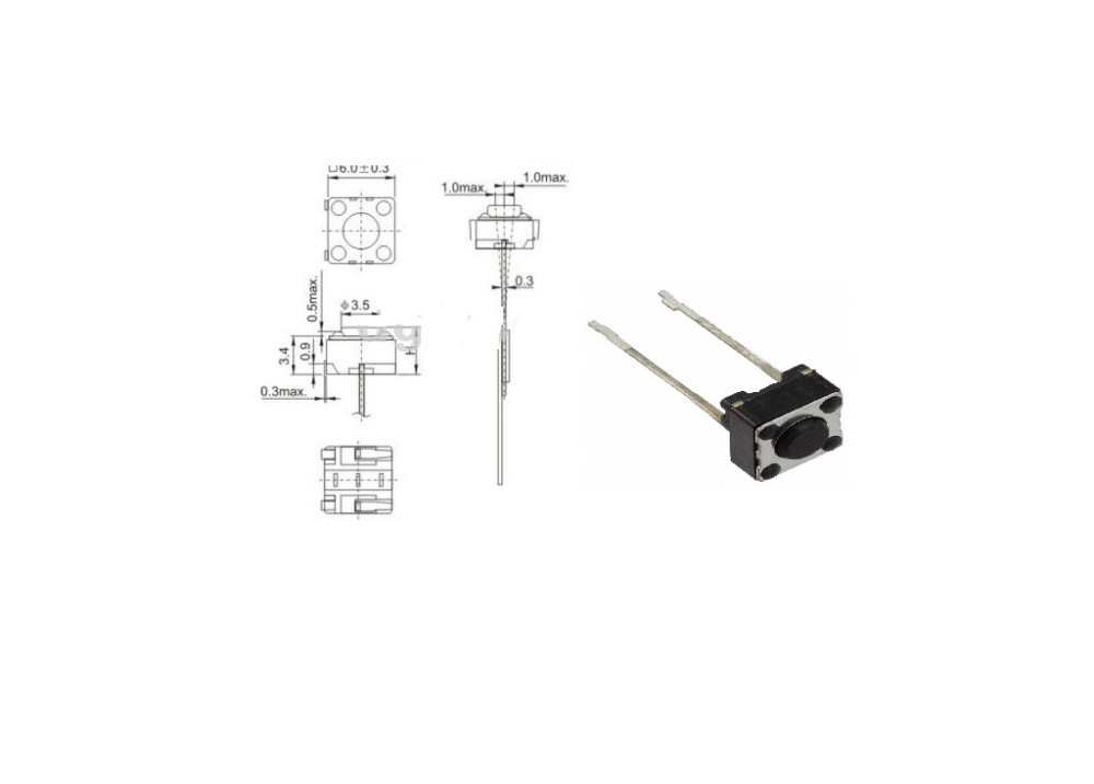 Momentary Tact Switch 6*6mm 4.3mm 2P