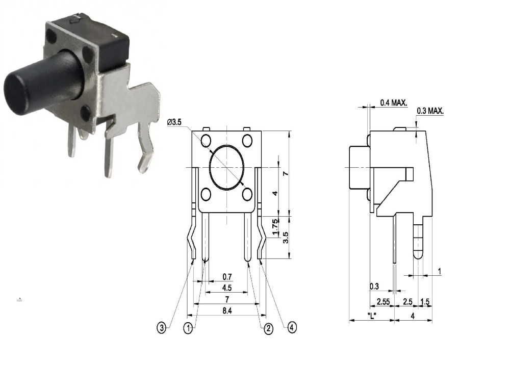 Momentary Tact Switch 90 degree bend Black 6X6X7mm 2P