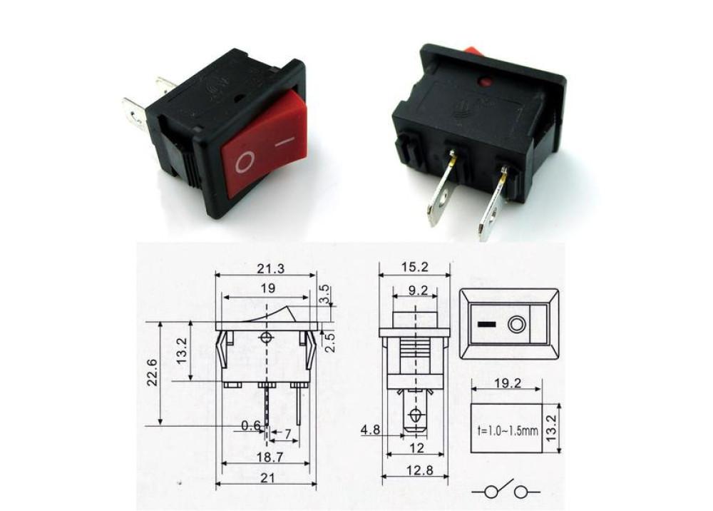 Rocker Switch 2P 6A 250V AC KCD1-A ORIGINAL
