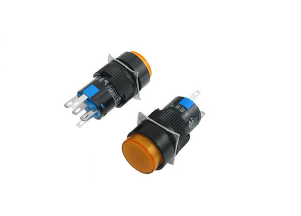 Orange  Momentary Push Button Switch Panel 24V 16mm 5P