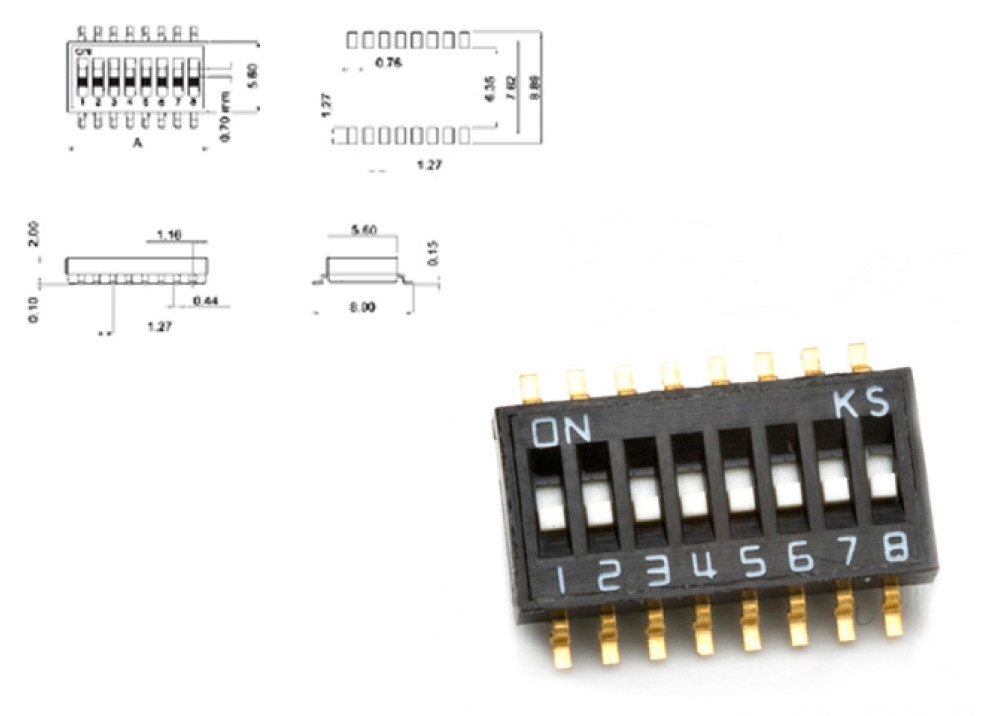 SMD DIP SWITCH DHS-8 8P