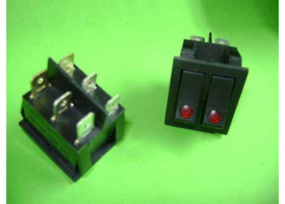 Rocker Power switch 15A 250V 6P