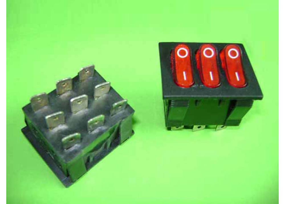 Red Power Triple Rocker Switch 15A 250V 9P