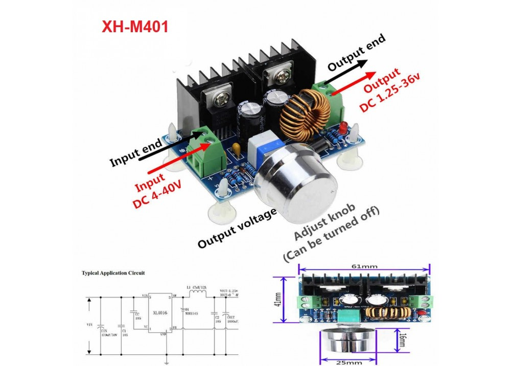 XH-M401 DC-DC 4-40V to 1.25-36V 8A Buck Converter Step Down Module