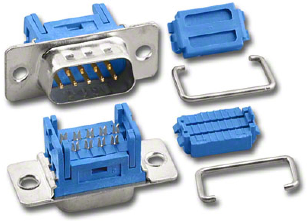 Male D-Sub IDC Connector  9P  Metal Face Wire To Wire