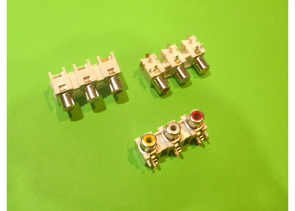 Audio Video PCB RCA Female Connecctors 3x holes Wire To Bord