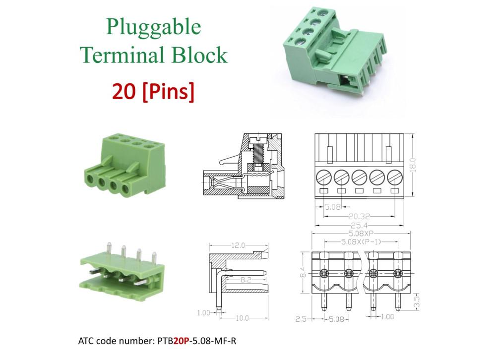 Pluggable Terminal Blocks 20Pins 5.08mm Raight Set of socket male PCB and plug screw female PTB20P-5.08-MF-R