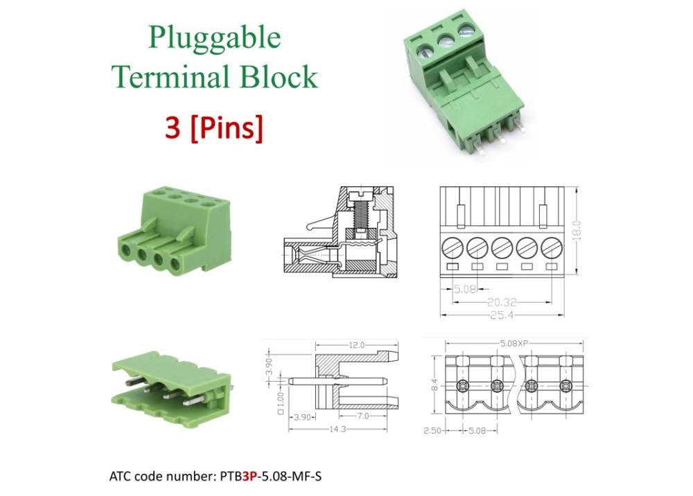 Pluggable Terminal Blocks 3Pins 5.08mm Straight Set of socket male PCB and plug screw female PTB3P-5.08-MF-S