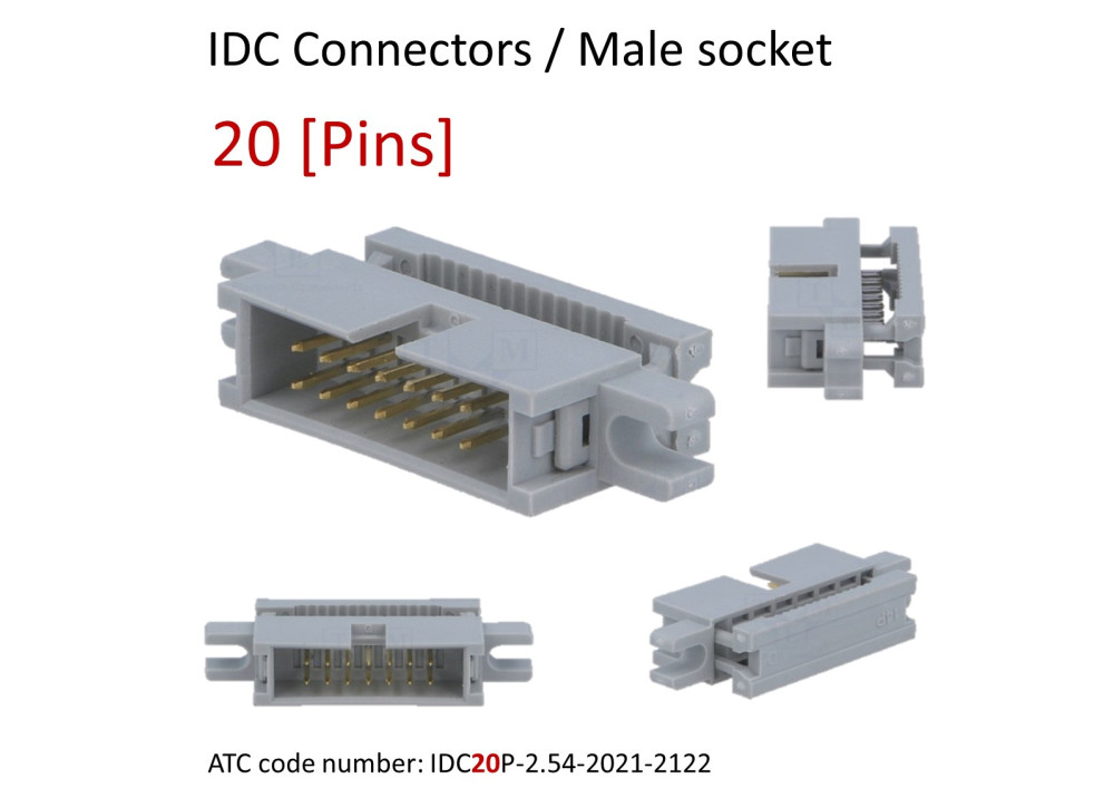 IDC Cable mounting plugs - 2.54mm pitch 20P
