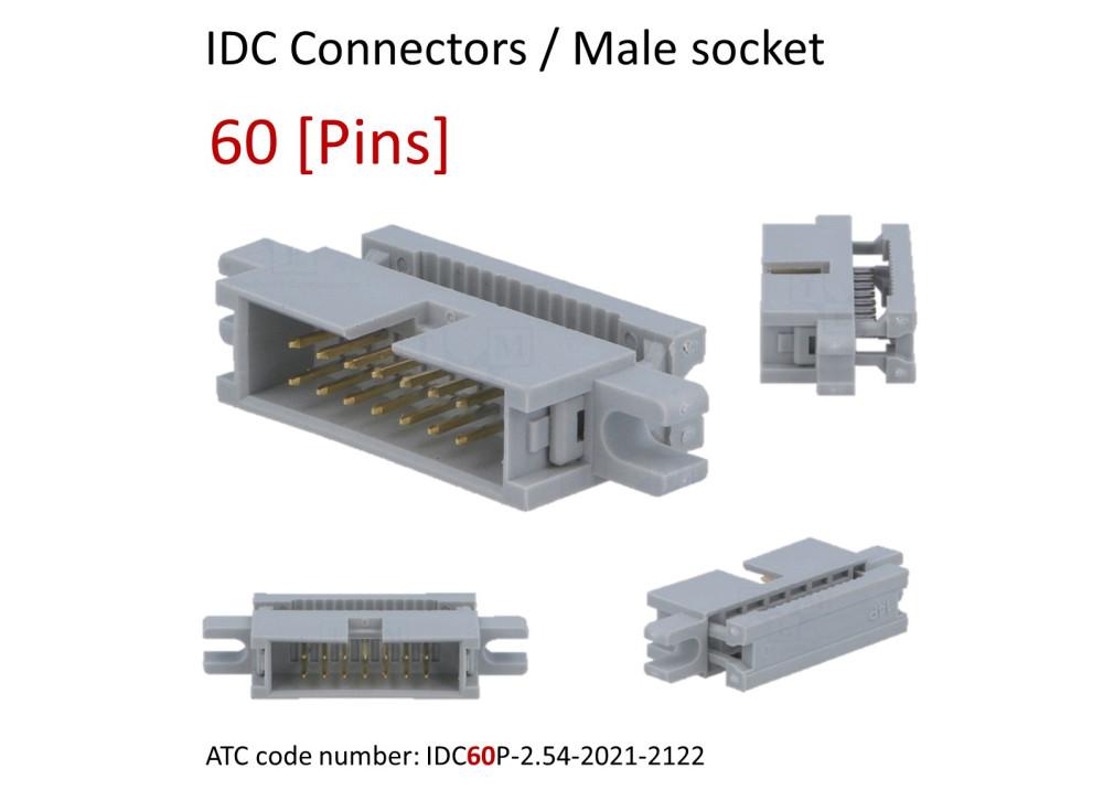 IDC Male Box Header 2.54mm FLAT 60P