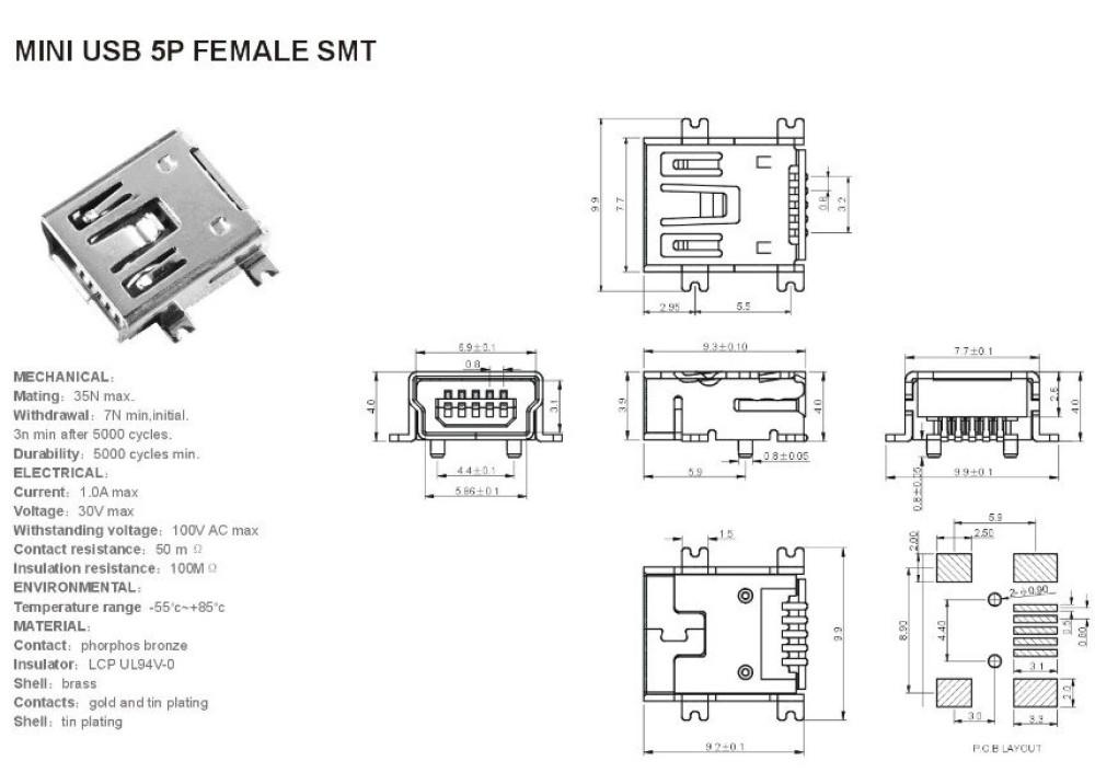 JK SMD MINI Type-B-5-Pin USB Female PCB