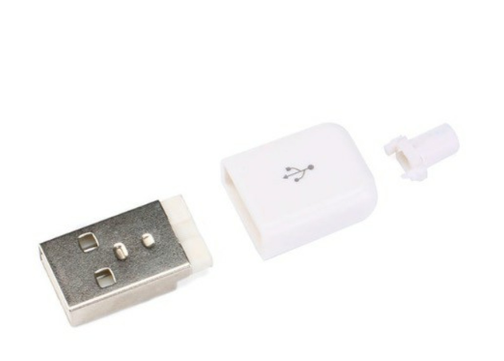 USB DIY Connector Shell Type A Male Plug White