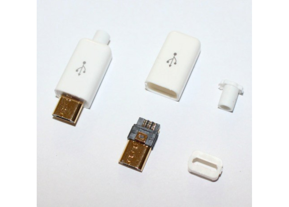 USB DIY Connector Shell Type Micro Male Plug White