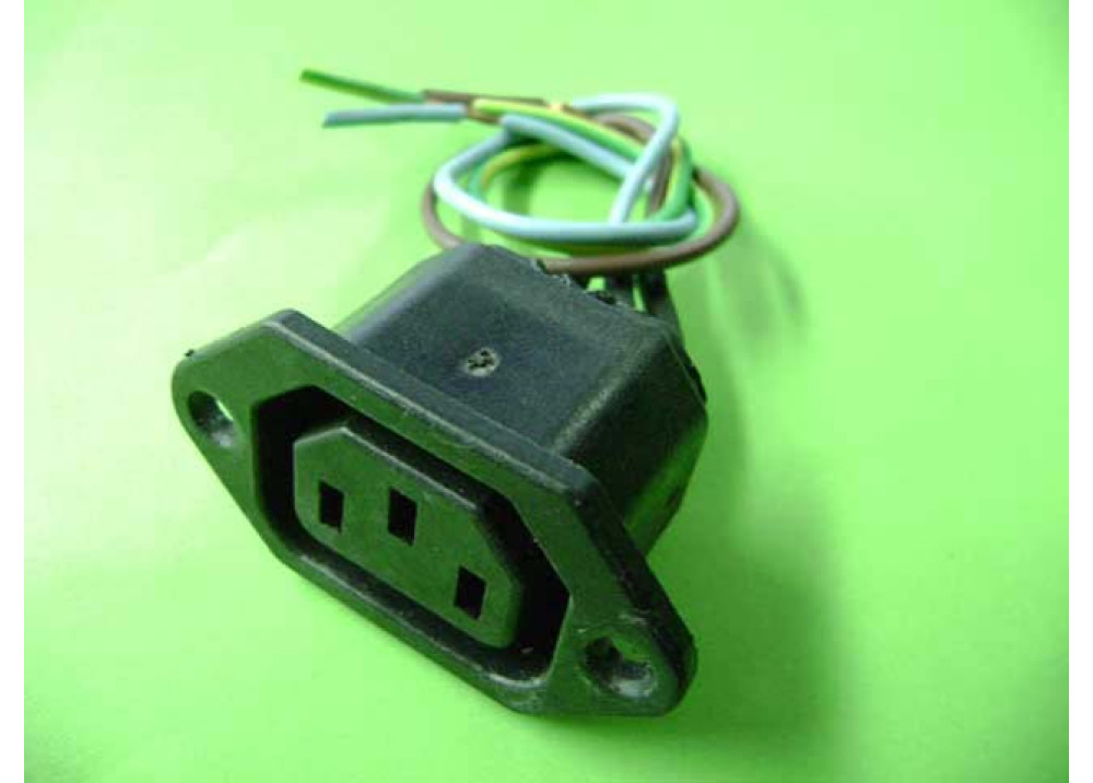 AC Power Female Panel Mount Withe Wire