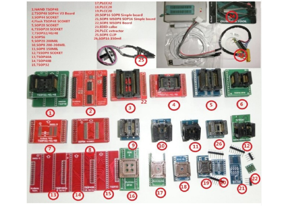 Mini Pro TL866II PLUS Universal Programmer SPI  With + 26.pcs Adapters