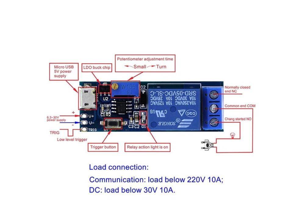 Timer Module Trigger Delay Relay Module 5-30V Micro USB Power XY-018