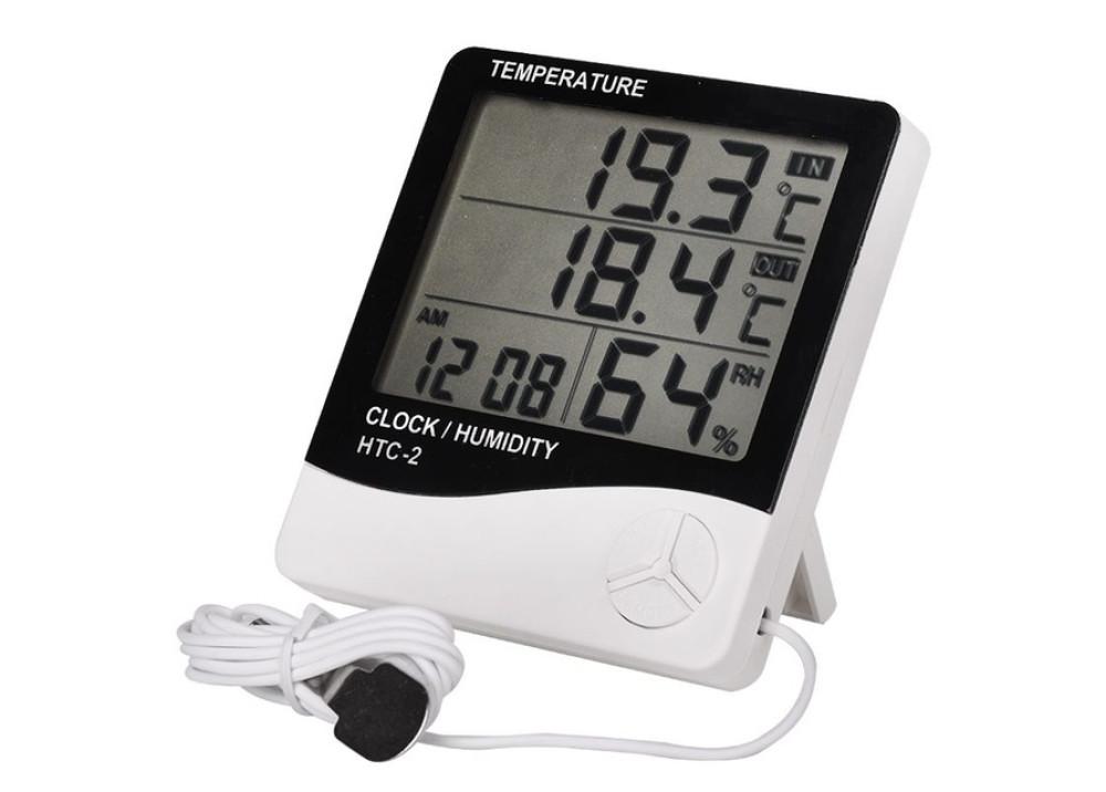 Digital Thermometer  Humidity Hygrometer Clock Calenda with Sensor Probe HTC-2
