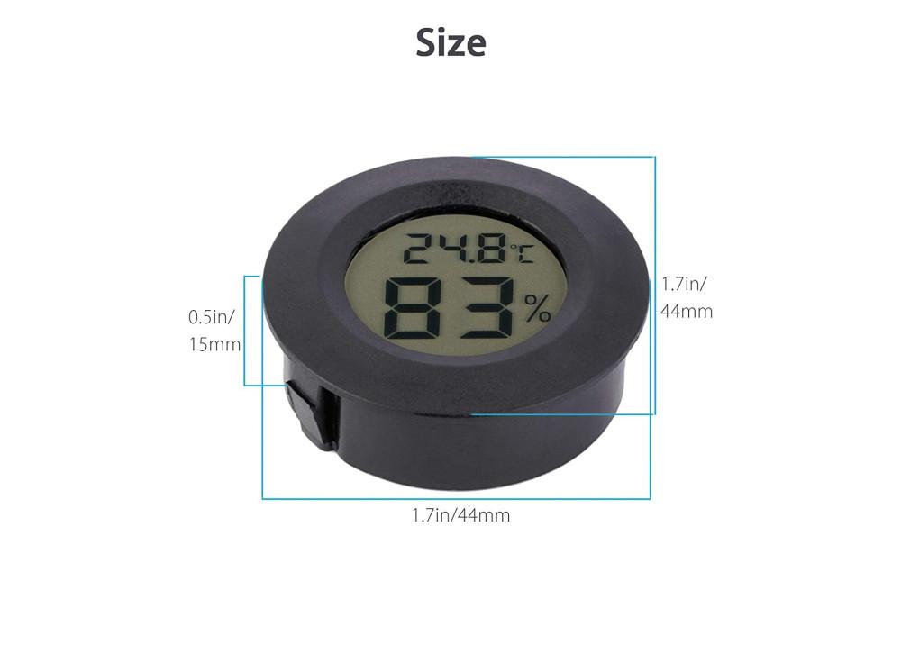 Black Round LCD Display Thermometer Hygrometer