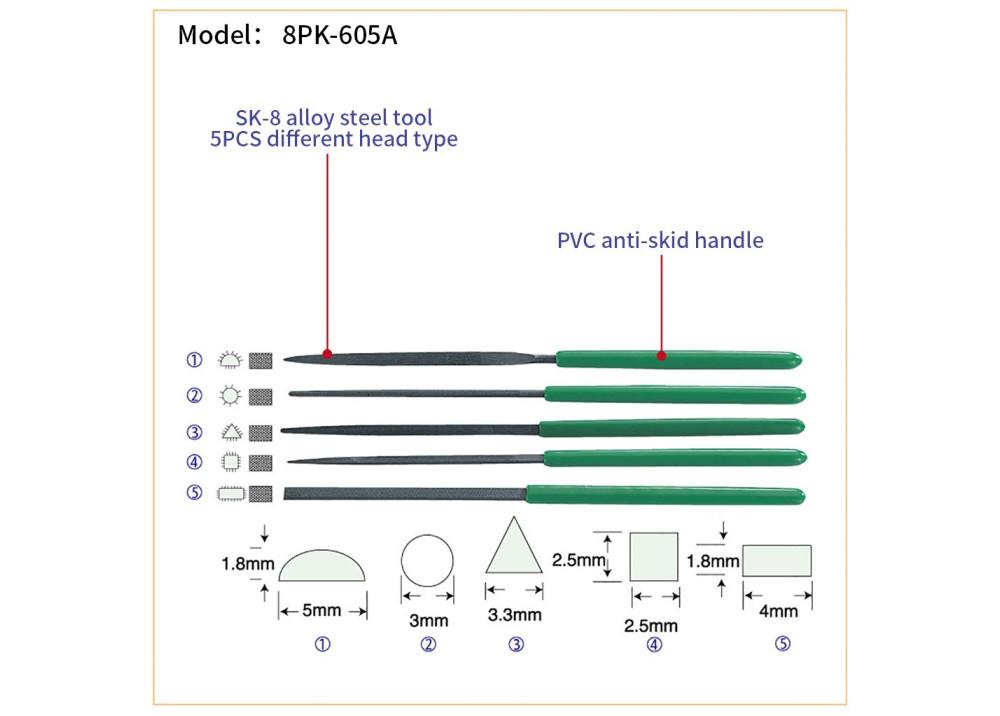 ProsKit 8PK-605A 5Pcs Needle File