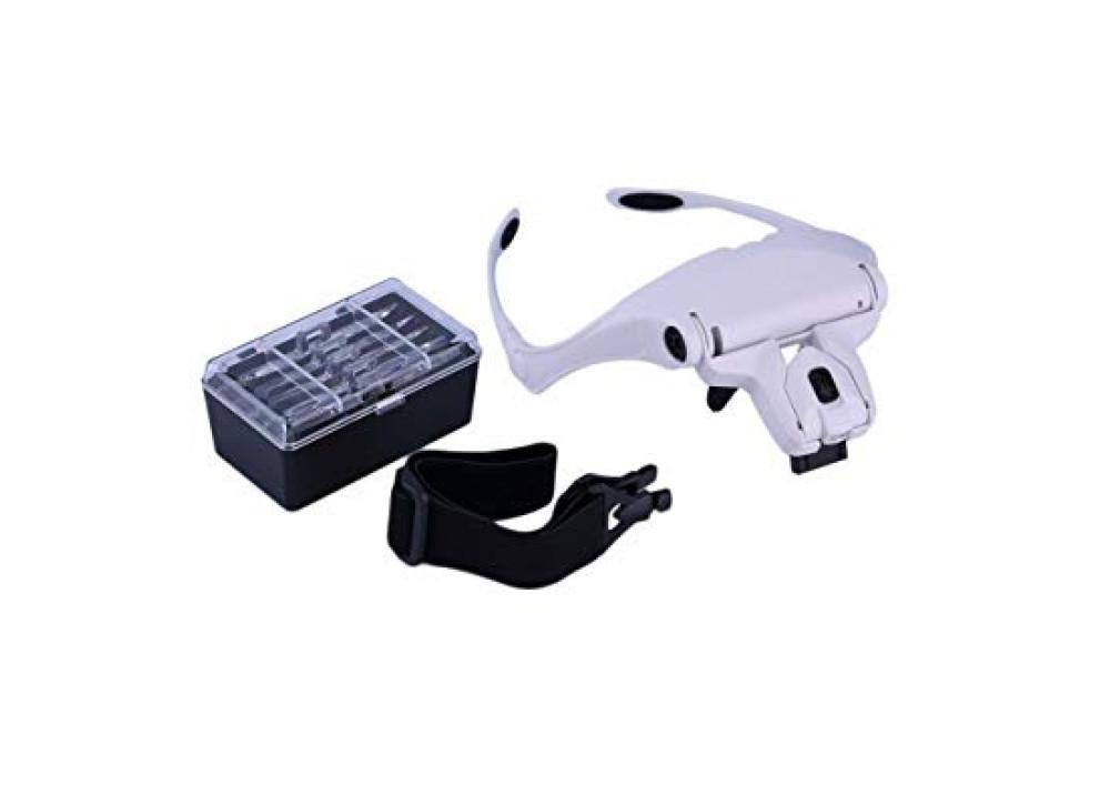 Magnifier Interchangeable 5 Pcs Lenses Headband 2LED Head Lamps 9892B1
