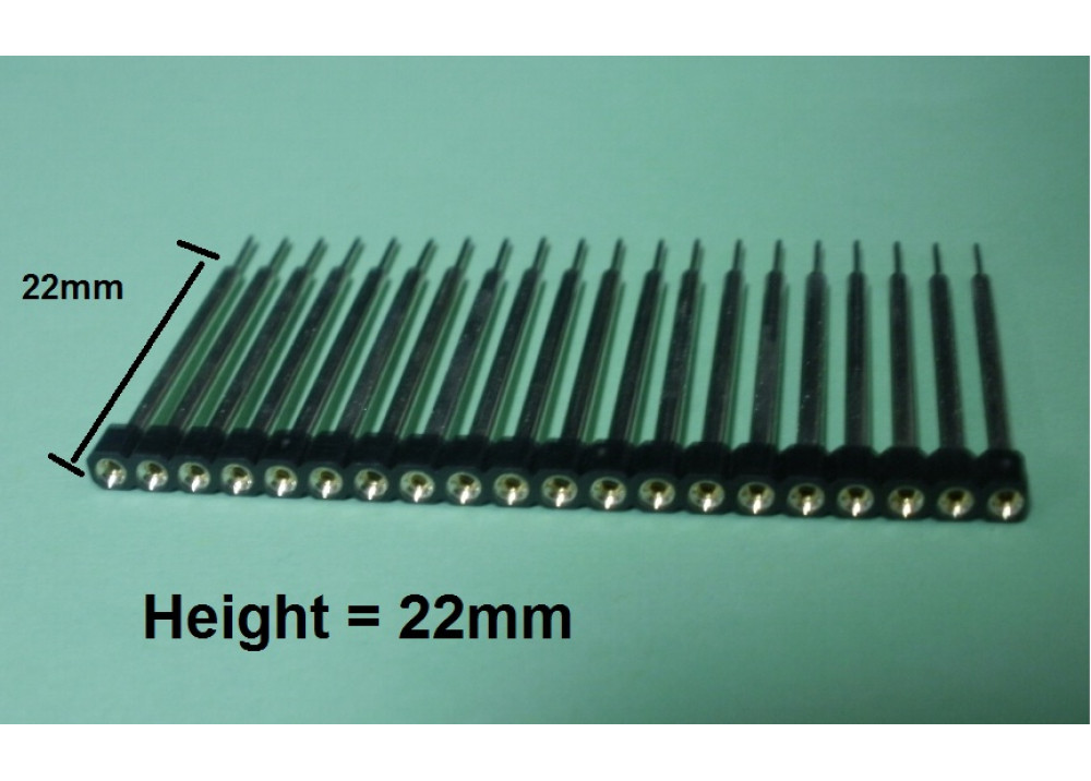 FEMALE HEADER ROUNDED PIN 20P 2.54mm  long 22mm