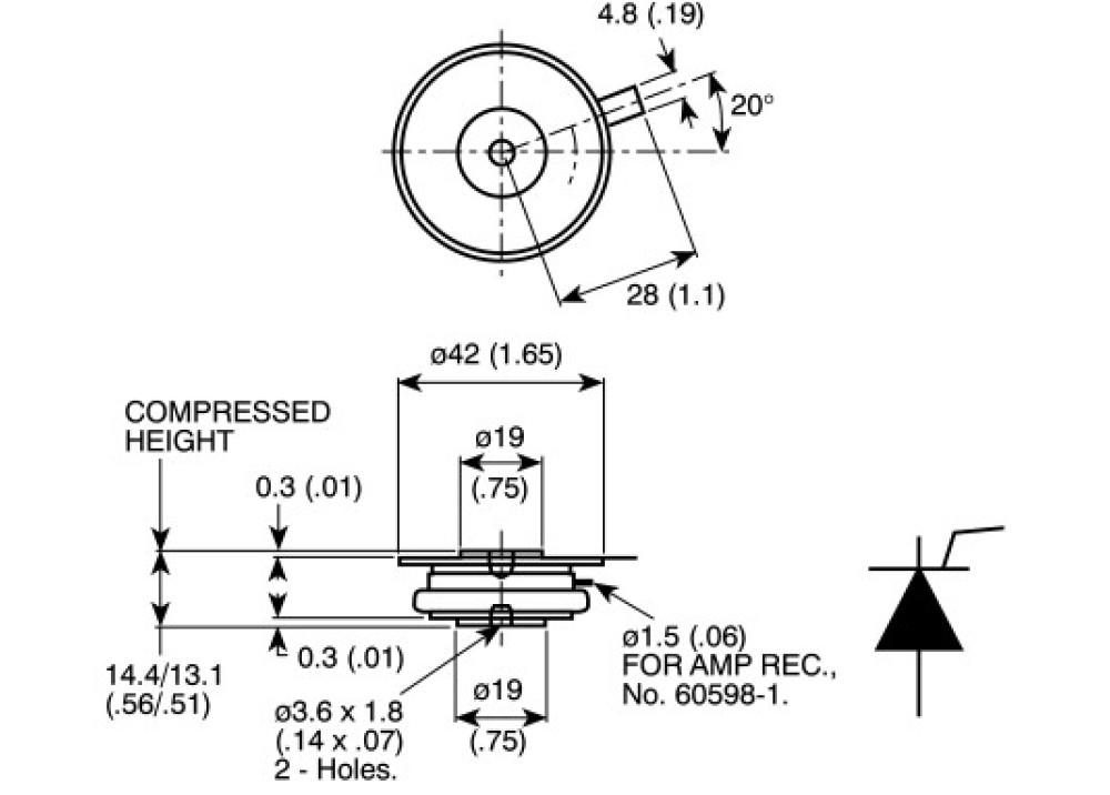 Thyristor PDA7T7S01275  1000A 1200V TO-200AB