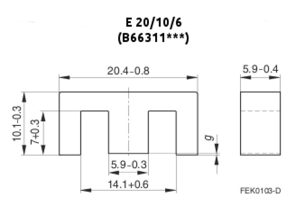 FERRITE B66311G0000X187 E20X10X6