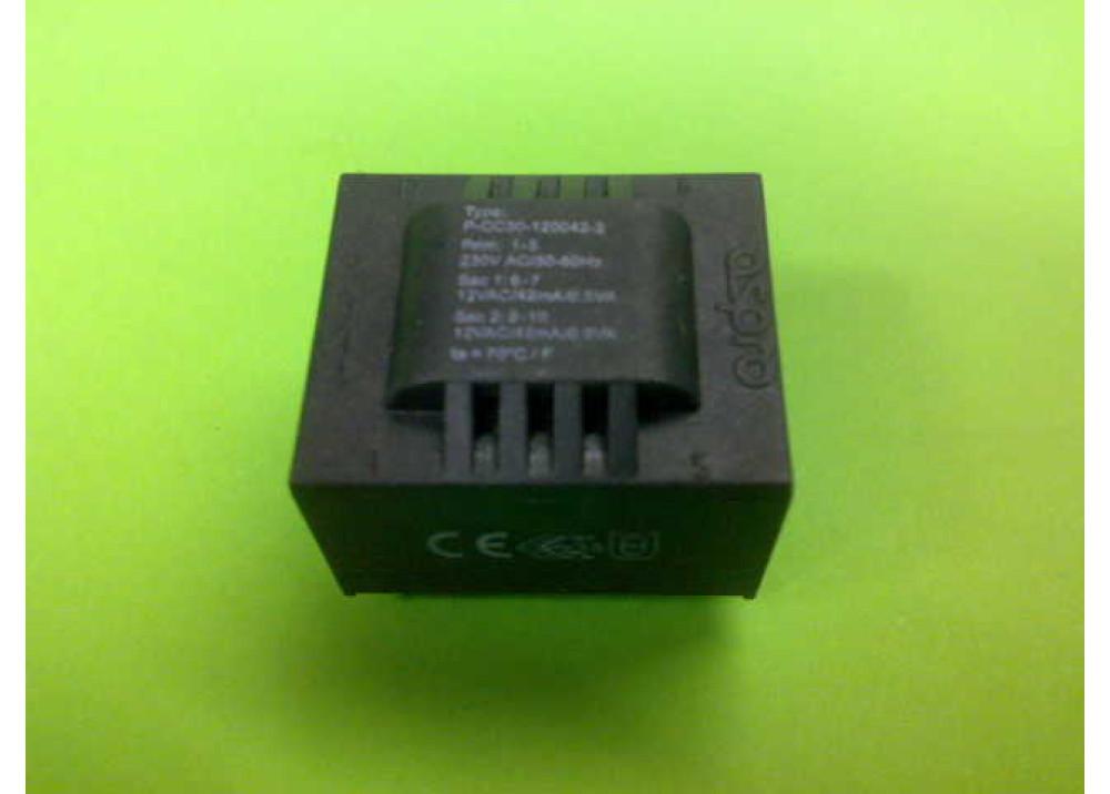 PCB TRANSFORMER 12VX2 1VA 84mA