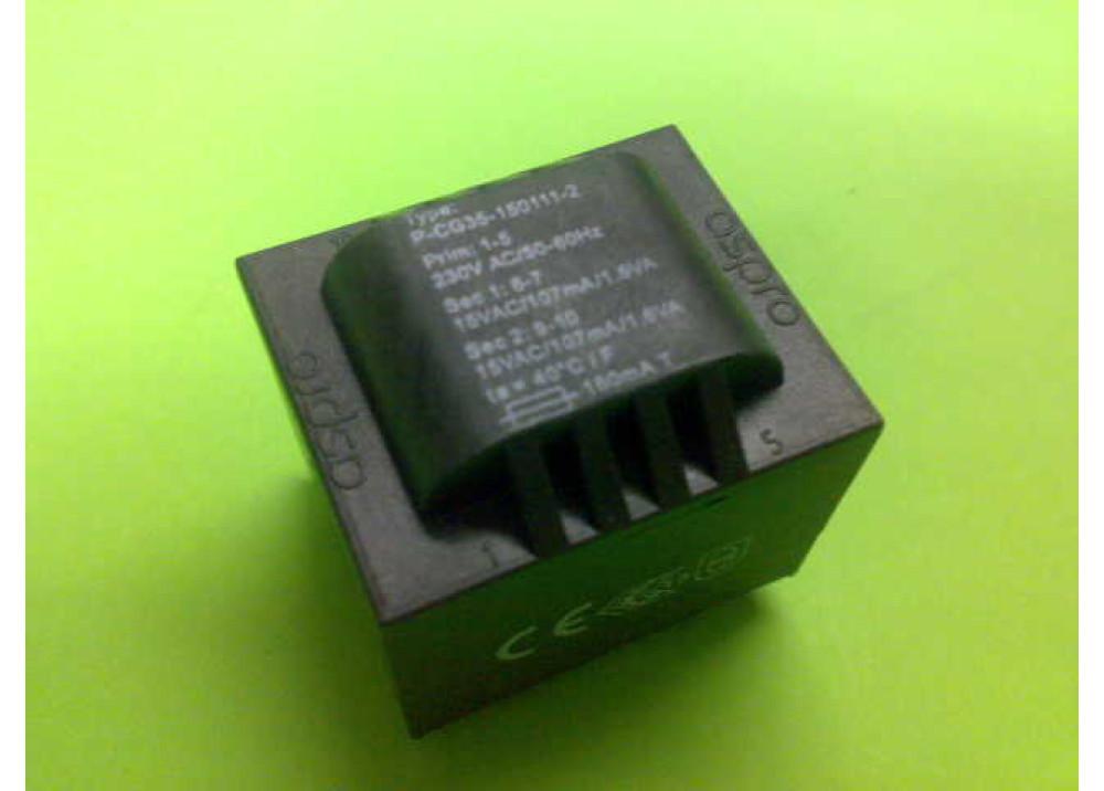 PCB TRANSFORMER 15VX2 3.2VA 214mA