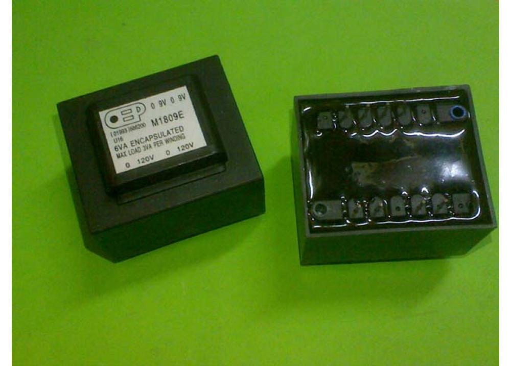 PCB TRANSFORMER M1809E 9VX2 6VA 600mA