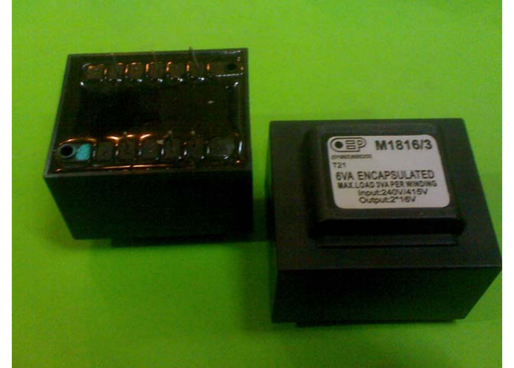 PCB TRANSFORMER 16VX2 6VA 375mA