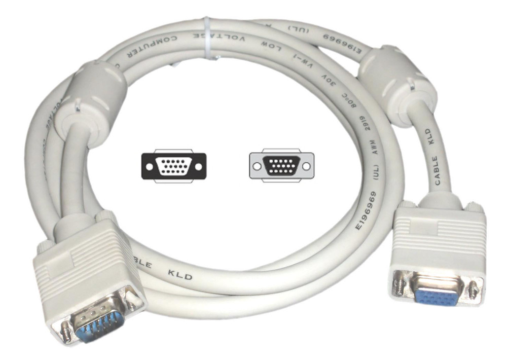 CABLE VGA MALE TO FEMALE 15P 5M