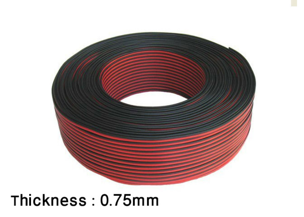 CABLE POWER BLACK&RED 0.75mm