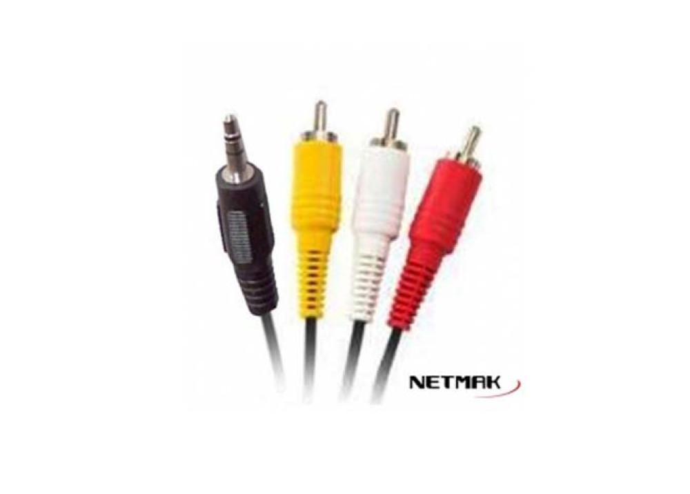 Cable Miniplug 3.5mm a 3 RCA 1.2m Netmak NM-C29