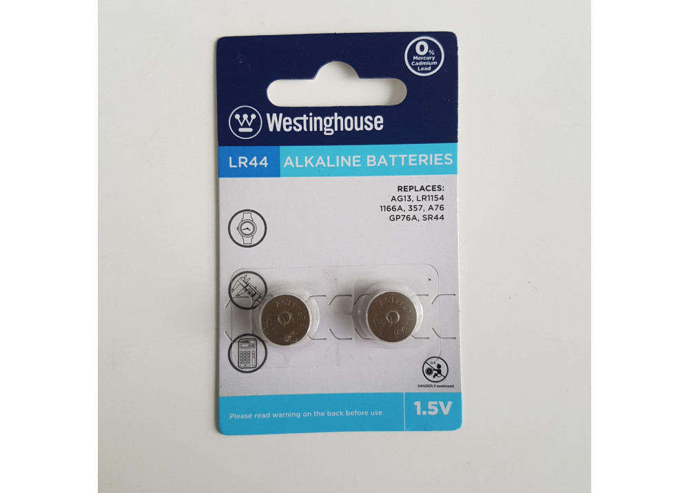 Westinghouse  Lithium Battery 1.5V LR44 AG13-BP2 2.Pcs