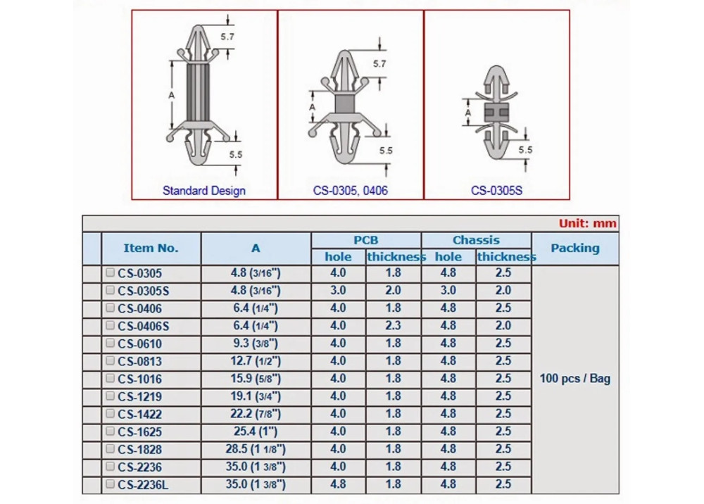 PCB SPACER  CS-0406S 7mm