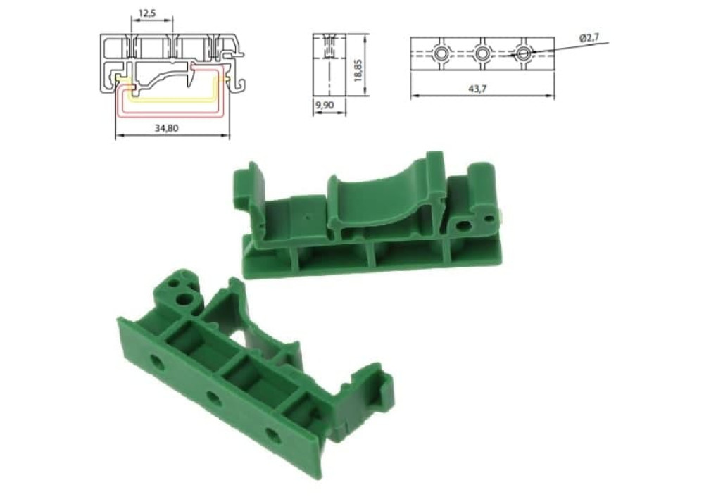 PCB DIN Rail Mounting Adapter Circuit Board Mounting Bracket Holder Carrier Clip