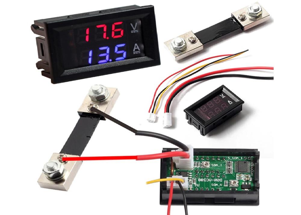 Digital DC Meter VOLT&CURRENT 100V 50A Voltmeter Ammeter Blue + Red LED Amp with shunt