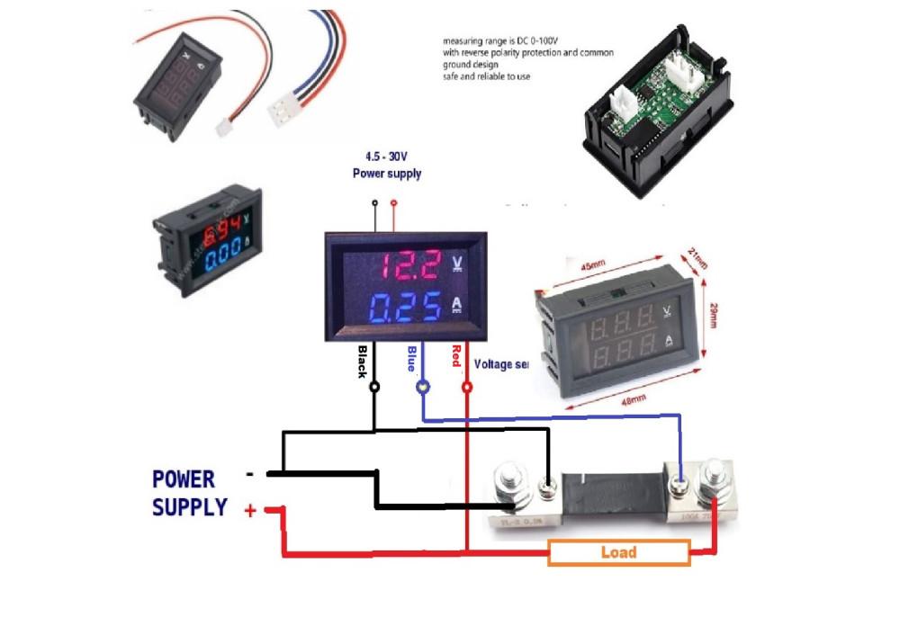 Digital DC Meter VOLT&CURRENT 100V 1000A Voltmeter Ammeter Blue + Red LED Amp with shunt