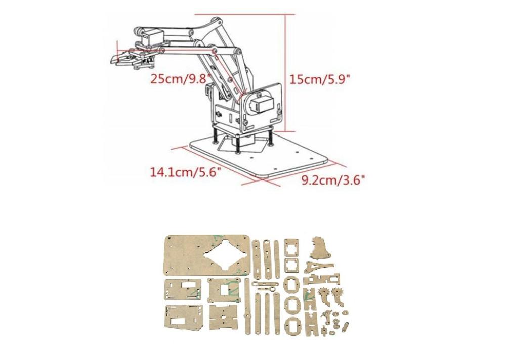 Acylic MINI Arm bracket for Arduino with Gripper Claw