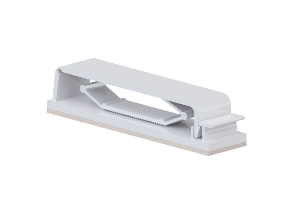 Flat Cable Clip TFCC-40-01 with Adhesive Mount - White  40P 54.1mm