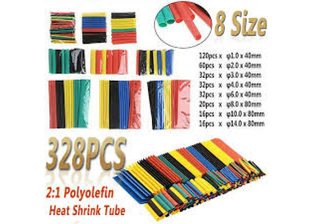 Heat Shrink Tubing set 8sizes 6colors 328pcs/lot heat shrink tube 2:1