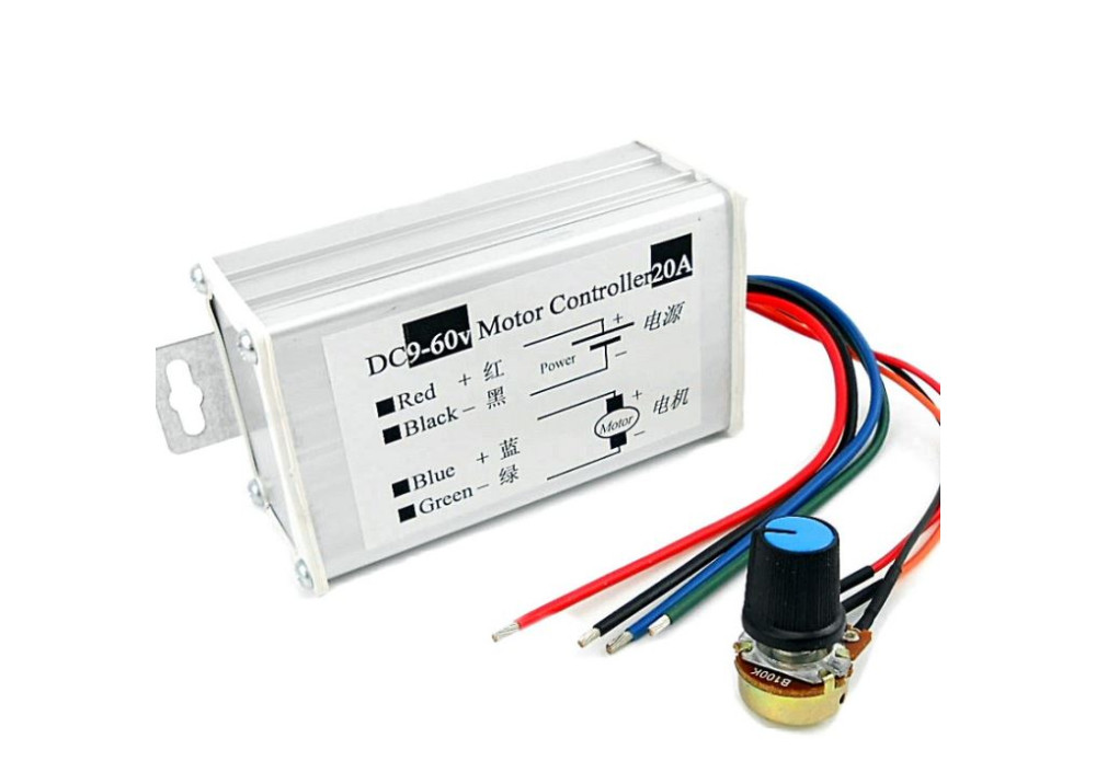 PWM DC Motor Speed  Control  9V~60V 20A PWM DC motor stepless speed controller  Pulse WidthModulator motor Speed regulating switch