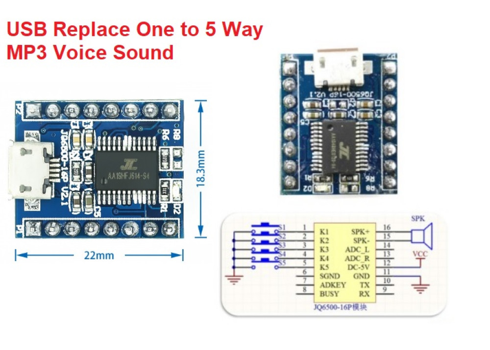 JQ6500 USB Replace One to 5 Way MP3 Voice Sound Module for Arduino USB Replace One to 5 Way MP3 Voice Sound Module