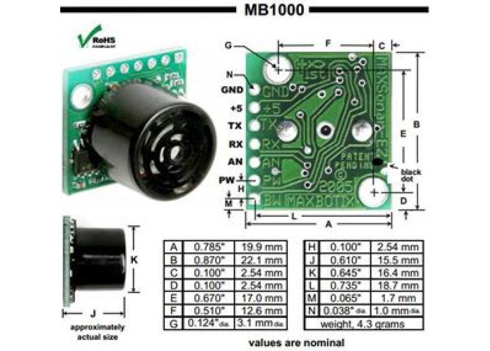 SENSOR DISTANCE MB1000 LV-MaxSonar-EZ0  Measuring Ultrasonic for Arduino