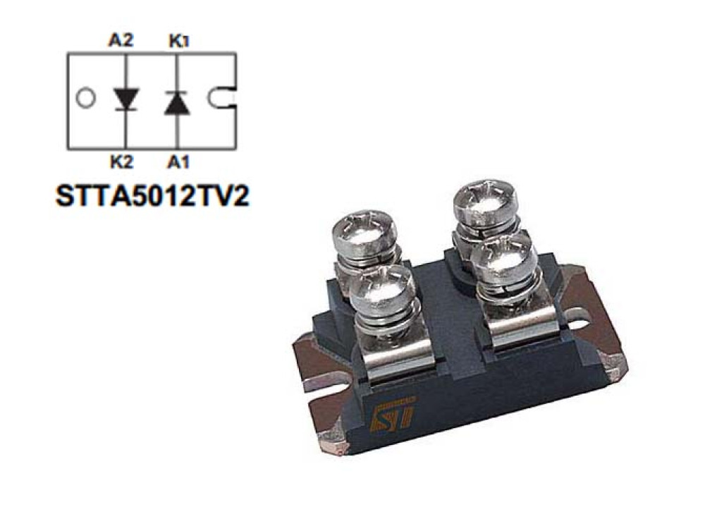 DIODE STTA5012TV2  1200V 2X25A 60ns ISOTOP
