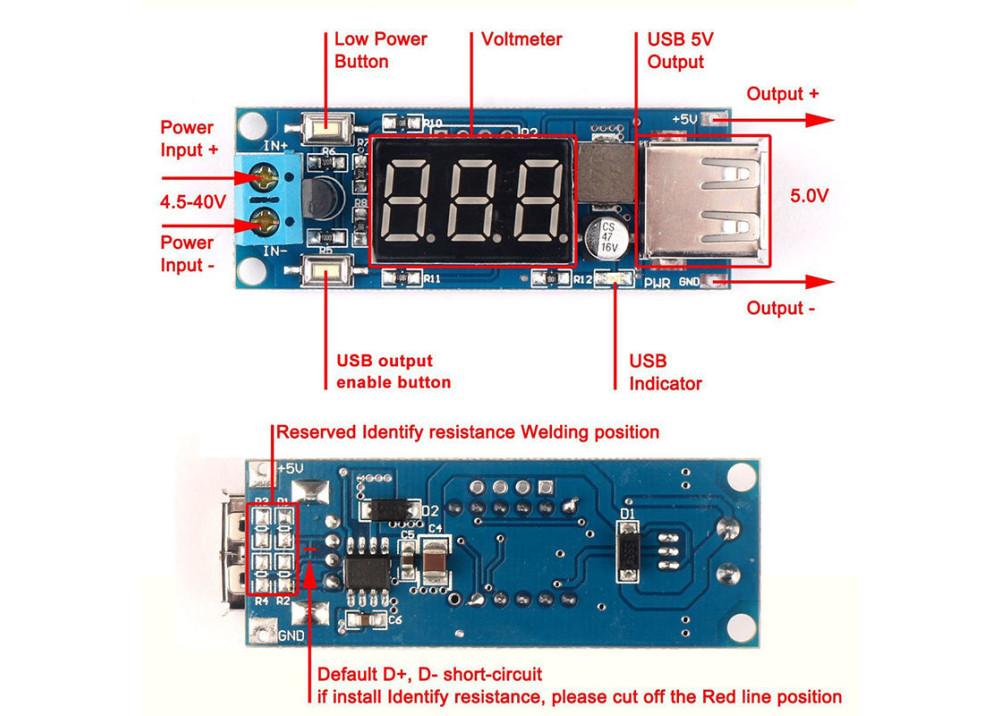 DCDC 4.5-40V To 5V 2A USB Charger Step-down Buck Converter Voltmeter Module