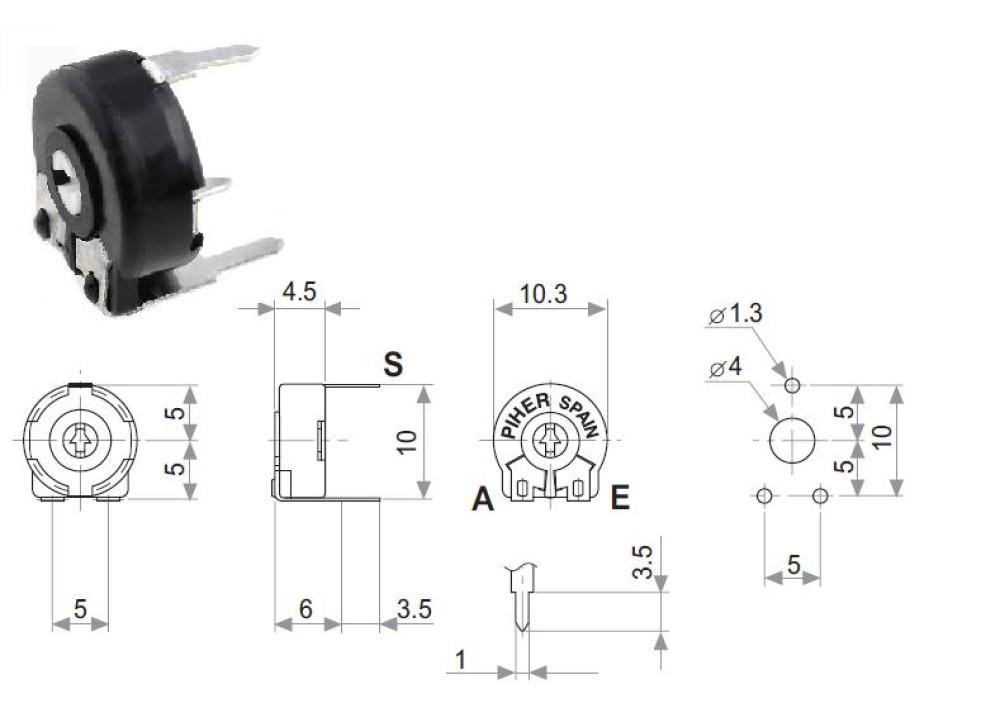 Carbon Potentiometer PT-10-L-V10-504 500K